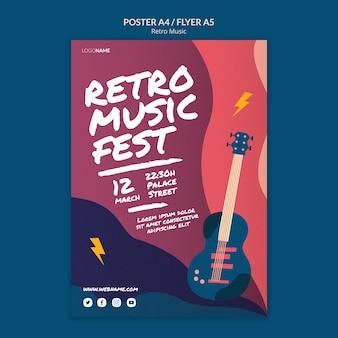 Retro muziek poster stijl