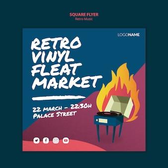Retro muziek vierkante flyer ontwerpen