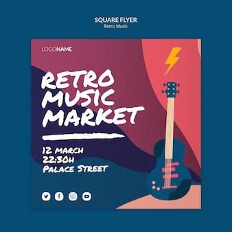 Retro muziek vierkante flyer-sjabloon