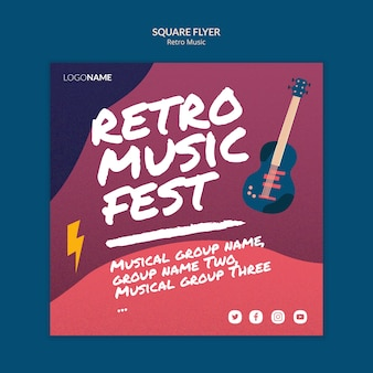 Retro muziek vierkante flyer