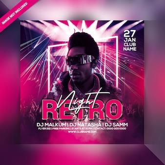 Retro night party flyer sjabloon