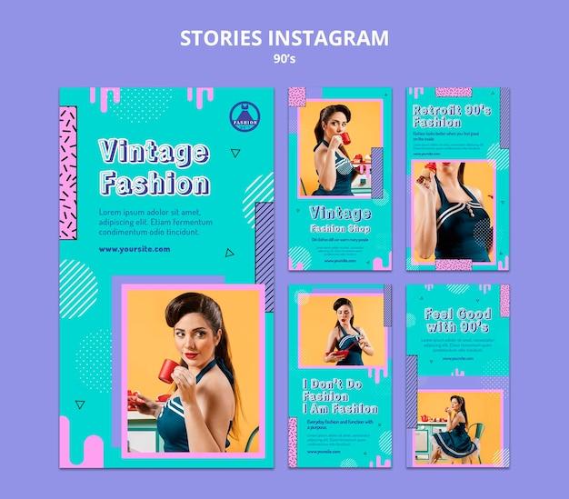 Retro ontwerpsjabloon voor insta-verhalen uit de jaren 90