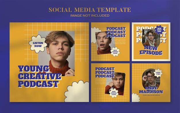Retro podcast social media banner en instagram postsjabloon