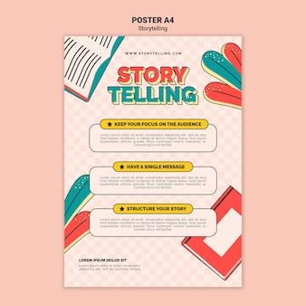 Retro storytelling afdruksjabloon