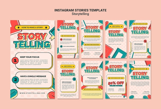 Retro storytelling instagram-verhalen sjabloon