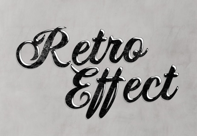 Retro teksteffect met zwarte vintage stijl mockup