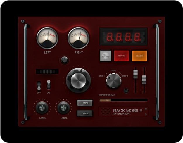 Retro ui-elementen dashboard psd