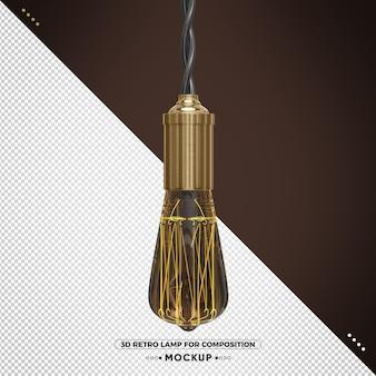 Retro vintage 3d render lamp met geelachtig licht en bruine afwerking