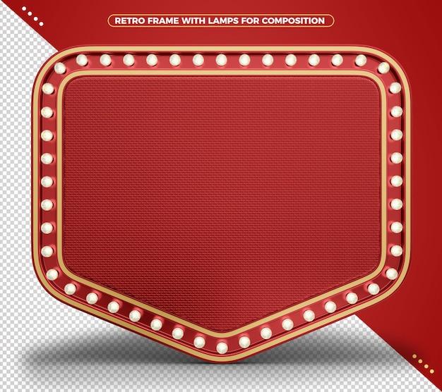 Retro vintage realistisch rood indicatielampje frame met realistische textuur en gouden randen