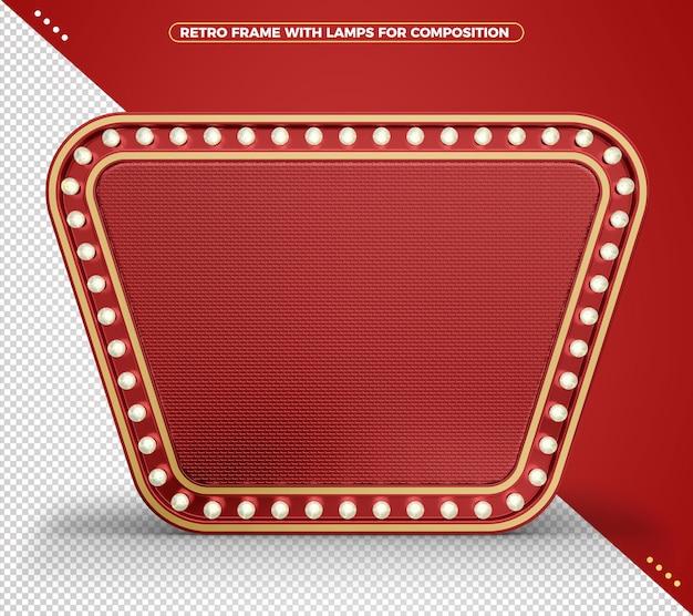 Retro vintage realistisch rood licht frame met realistische textuur en gouden randen