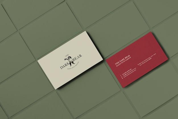 Retro visitekaartje mockup psd huisstijl ontwerp