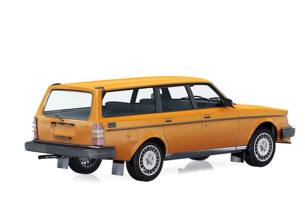 Retro wagen combi auto 1984 mockup