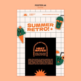 Retro zomer poster sjabloon