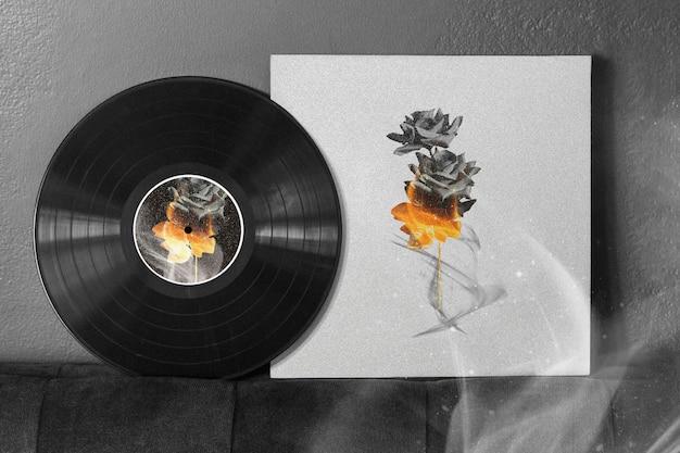 Retro zwart vinyl omslagmodelontwerp