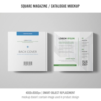 Revista cuadrada de contratapa o maqueta de catálogo