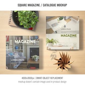 Revista cuadrada o maqueta de catálogo cubre