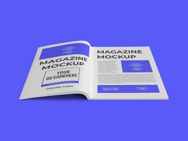 Revista libro plantilla de maqueta de papel psd aislado