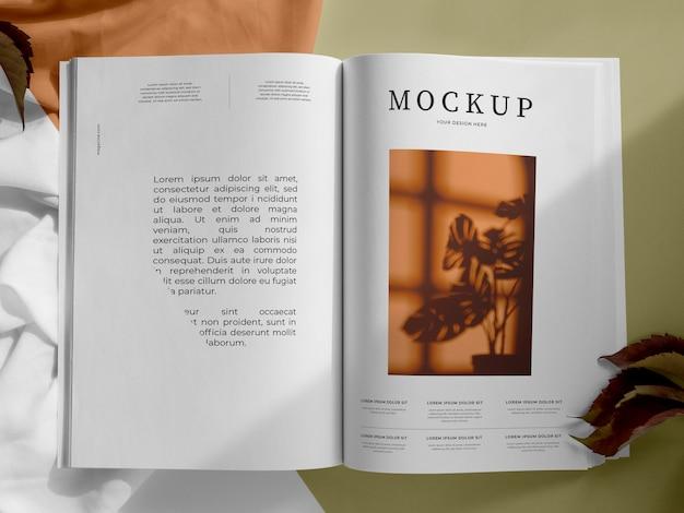 Revista y vista superior de surtido de hojas