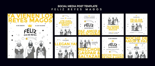 Reyes magos social media postsjabloon