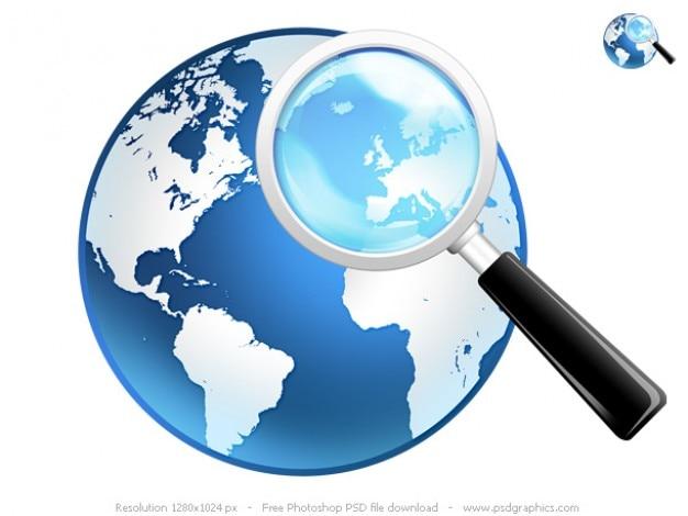 Ricerca globale icona, psd mondo e lente d'ingrandimento