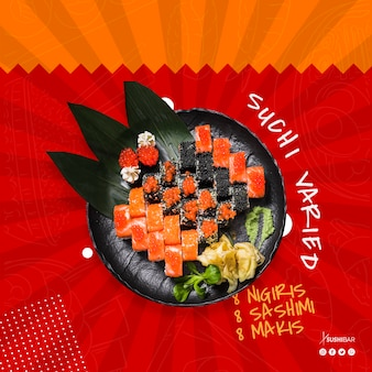 Ricetta di sushi con pesce crudo per ristorante giapponese asiatico o sushibar