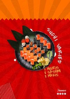 Ricetta variegata di sushi con pesce crudo per ristorante giapponese asiatico