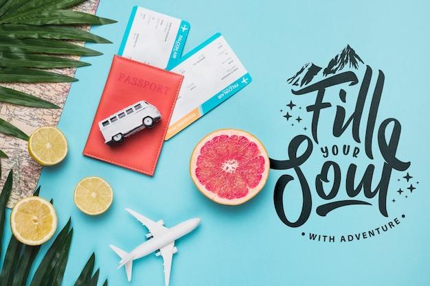 Riempi la tua anima, citazione di lettering motivazionale per le vacanze che viaggiano concept