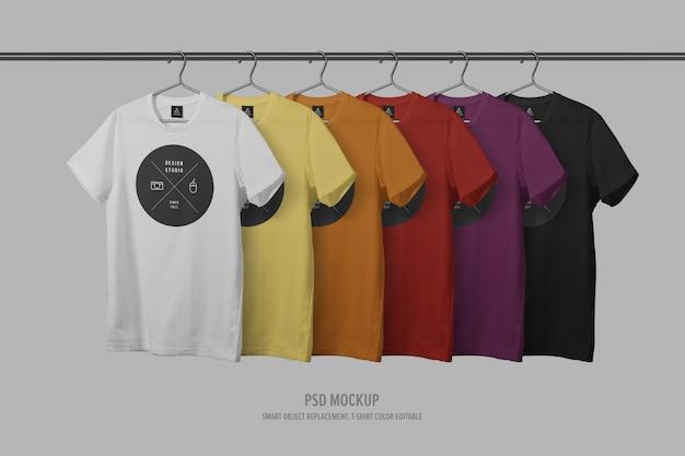 Rij van t-shirt mockup sjabloon met waslijn