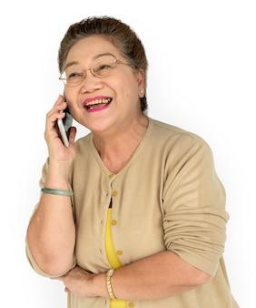 Rijp aziatisch vrouwentelefoonconcept