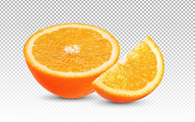 Rijpe helft van oranje geïsoleerde citrusvruchten