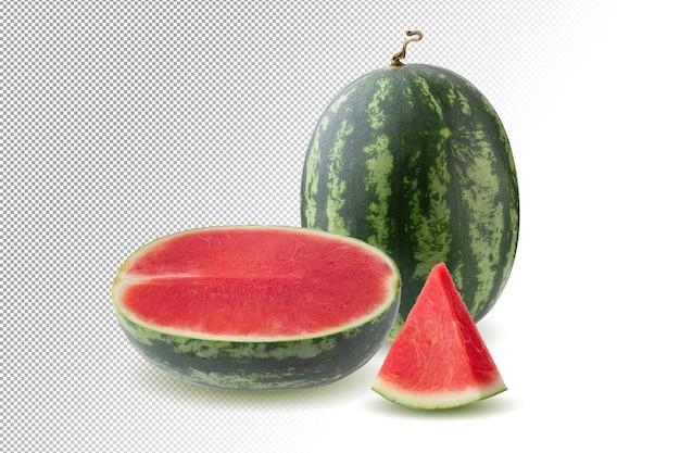 Rijpe watermeloen en driehoekige watermeloenplakken