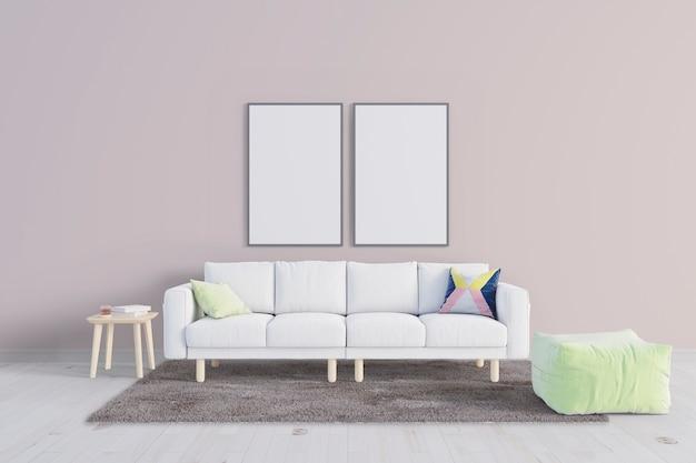 Rilassati soggiorno con mockup cornice in tela