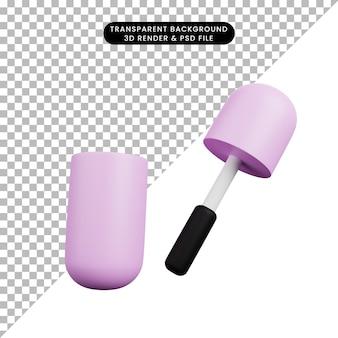 Rímel de objeto de belleza de icono simple de ilustración 3d