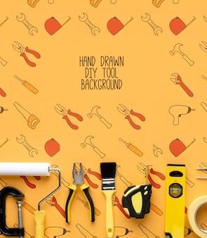 Riparazione di strumenti con sfondo mock-up