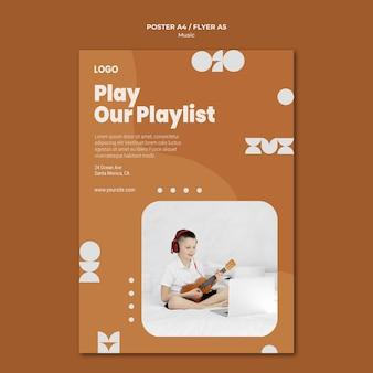 Riproduci la nostra playlist ragazzo che suona il poster dell'ukulele