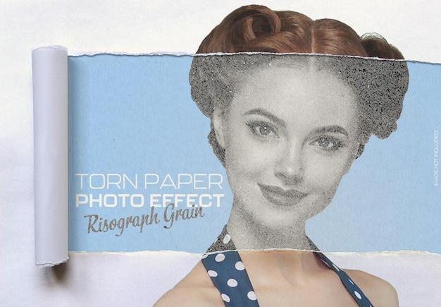 Risograph korrel op gescheurd papier foto-effect Premium Psd