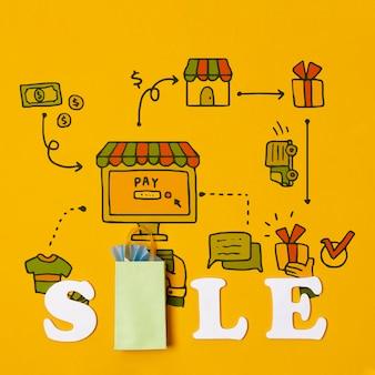 Risparmio di denaro e acquisto di prodotti sulle vendite