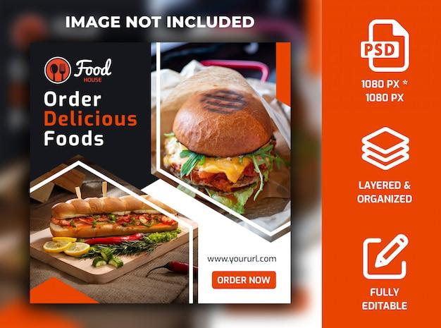 Ristorante cibo social media post banner template psd