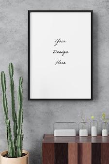 Ritratto poster frame mockup sullo stile minimalista di cemento muro di cemento