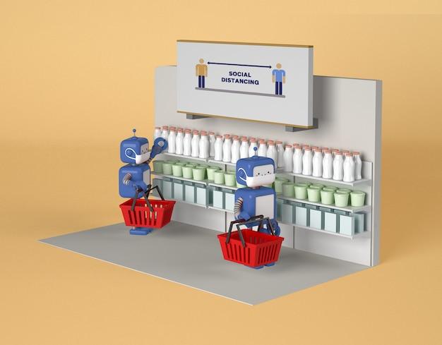 Robot con maschere mediche che mantengono la distanza sociale durante lo shopping