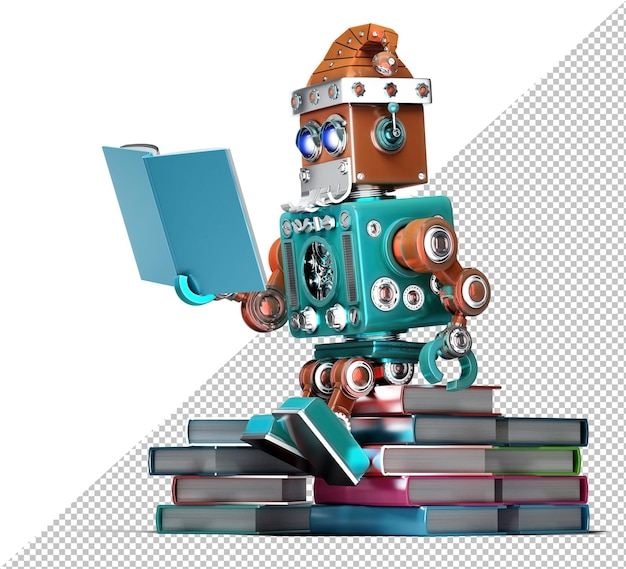 Robot kerstman die boeken leest