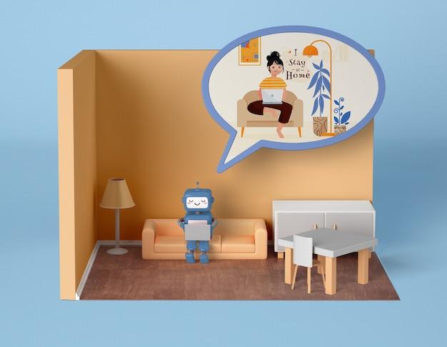 Robot relajándose en casa en el sofá