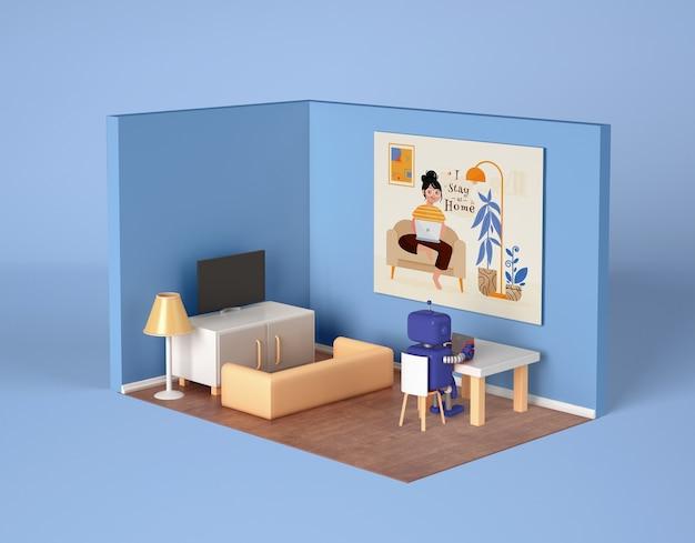 Robot rilassante a casa nella sua stanza