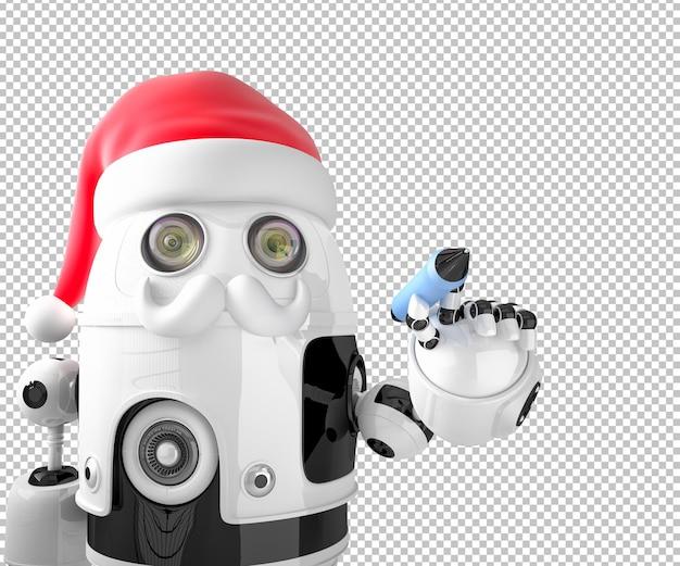 Robot santa claus escribe algo con un bolígrafo. concepto de navidad
