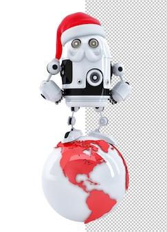 Robot santa op de top van de wereld. technologie concept