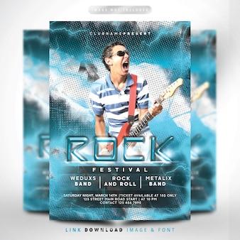 Rock bliksem blauwe flyer fest premium