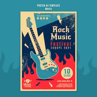 Rock muziekfestival afdruksjabloon