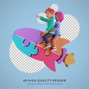 Rocket puzzle opstarten teamwork samenwerking 3d hoge kwaliteit render illustratie