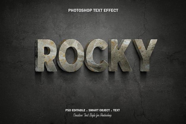 Rocky teksteffect sjabloonontwerp logo