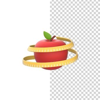 Rode appel met meetlint of meter. 3d geef model geïsoleerd witte achtergrond terug.